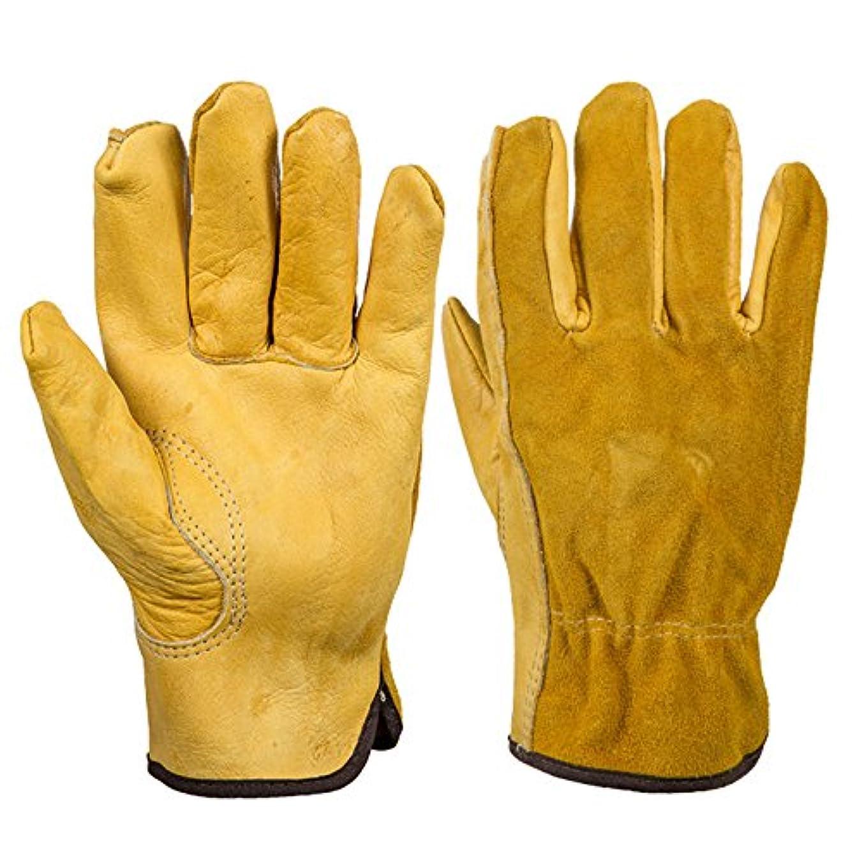 一瞬捕虜リブLiebeye 手袋 グローブ 革 滑り止め 滑らない ドライバガーデン 機械の修理用 作業用 作業 XL
