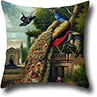 16 X 16 Inches / 40 By 40 Cm Peacock Painting Throw Pillow Covers ,twice Sides Ornament And Gift To Son,chair,home Office,home Theater,club,divan