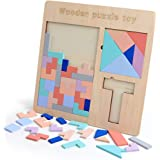 Three-in-one wooden Tetris puzzle children's educational toys family interactive play set (11.69 * 11.69 * 0.27in)