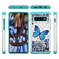WVYMX Galaxy S10 Cell Phone ケース, 3D Bling 2in1 Hybrid PC + TPU Soft Silicone Slim Shockproof Slim Fit ケース キズ防止 高級感 カバー シンプル 取り出し易い ケース Compatible with for Samsung Galaxy S10 Blue Butterfly