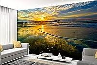 Yosot カスタムの横長の壁紙に設定するには、日の出とベッドルームのテレビの背景の壁紙のシービューの壁画があります。-140cmx100cm