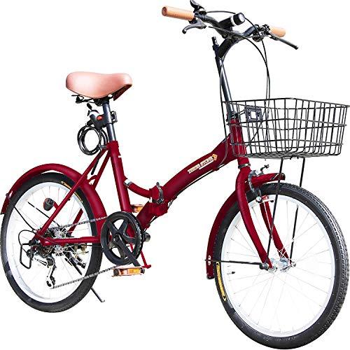 折りたたみ自転車 20インチ MBP-08 シマノ6段変速ギア フロントライト・ロック錠・カゴ付き 折畳み 自転車 折り畳み自転車 ミニベロ 小径車 (WINE RED)