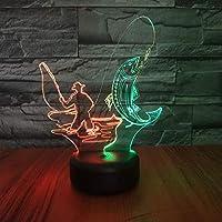 3 D錯覚ランプledナイトライトテーブルランプ、7色自動交換タッチスイッチデスク装飾ランプ誕生日クリスマスギフトデスクランプ付きアクリルフラット&usb、釣り