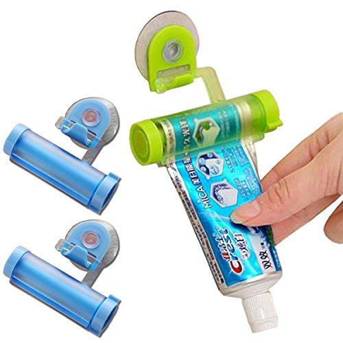 ZooooM 3個セット チューブ 絞り 器 吸盤 歯磨き 粉 洗顔 料 洗面台 最後まで 使う 収納 フック 搭載 壁 設置 面白 おもしろ 便利 グッズ セット 節約 もったいない (カラー:ランダム) ZM-KURUTY