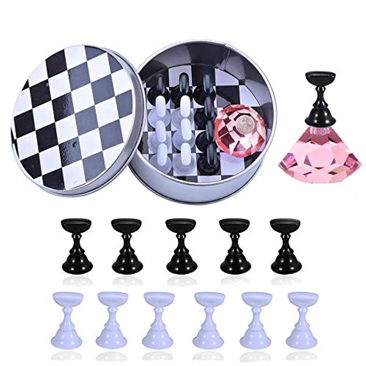 紛争学校教育敬の念12本 磁気ネイルアートディスプレイスタンド Kalolary チェスボード ネイルチップスタンド ディスプレイスタンド サンプルチップ 練習ネイルサロンツール
