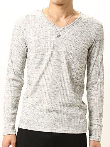 (アーケード) ARCADE ロングTシャツ ランダムテレコ 杢 フィットデザイン 針抜き Vネック ロンT メンズ 長袖 L ミックスグレー
