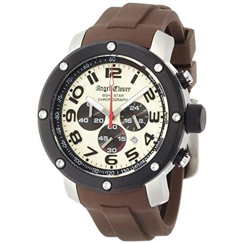 [エンジェルクローバー]Angel Clover 腕時計 エイトスター アイボリー文字盤  ステンレス(BKPVD) クロノグラフ NES46BSB-LB メンズ