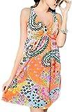 [笑顔一番] レディース 水着 ワンピース 花柄 リゾート ペイズリー柄 可愛い Aライン 体型カバー 大きいサイズ + シュシュ + スマホケース [A140-12] オレンジ L