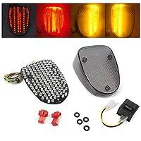 Luckmart LEDテールランプ ブレーキランプ ウインカー機能 LEDバルブ内蔵 レッド/アンバー 対応車種 ヤマハ Yamaha V-Star650/XVS650 /Royal Star XVZ1300/XV1600 スモークレンズ