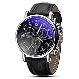 レンコス(Lemcos) 魔王の腕時計 ビジネス男性 メンズ ダイヤル革バンド ファッション腕時計 スポーツ クォーツ時計 (ブラック)