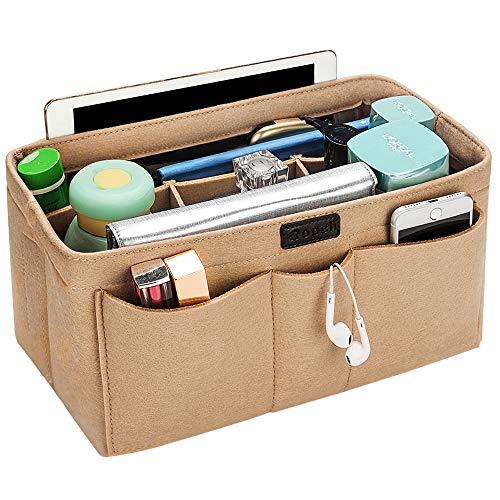バッグインバッグ トート リュック 自立 収納整理 大容量 軽量 フェルト インナーバッグ インナーポケット 収納力抜群 仕分け 小物整理 出勤 旅行 メンズ レディース bag in bag (12ポケット) (M, ベージュ)