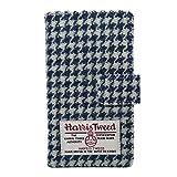 ハリスツイード 手帳型 スマホケース Y06115A-0-B ブルー/ホワイト