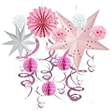Party Pom Poms Honeycomb Decoration Kit Paper Star Lantern Hanging Swirls for Baby Girl Birthday Wedding Home Decor SUNBEAUTY (Pink) [並行輸入品]