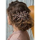 Kercisbeauty Wedding Bridal Bridesmaid Pink Champagne Beads Rose Gold Hair Comb Slide Updo Hair Accessory Prom...