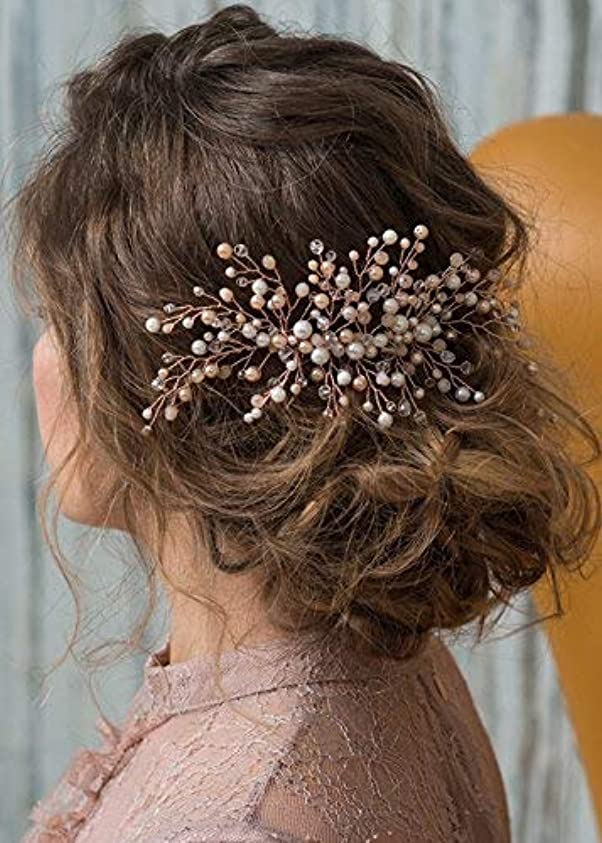州知性ポケットKercisbeauty Wedding Bridal Bridesmaid Pink Champagne Beads Rose Gold Hair Comb Slide Updo Hair Accessory Prom...