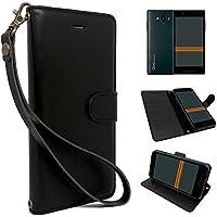 【 shizuka-will- 】au Qua phone QX キュアフォン KYV42 KYOCERA 京セラ 専用 手帳型 黒色 PUレザー シンプル ブラック ケース カバー ビンテージストラップ付 カード収納あり UQmobile DIGNO V ディグノV 対応 スマホ ケース