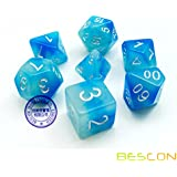 """""""ICY Rocks"""" Two-Tone Glow in The Dark Polyhedral RPG DND MTG Dice Set of 7 by Bescon"""