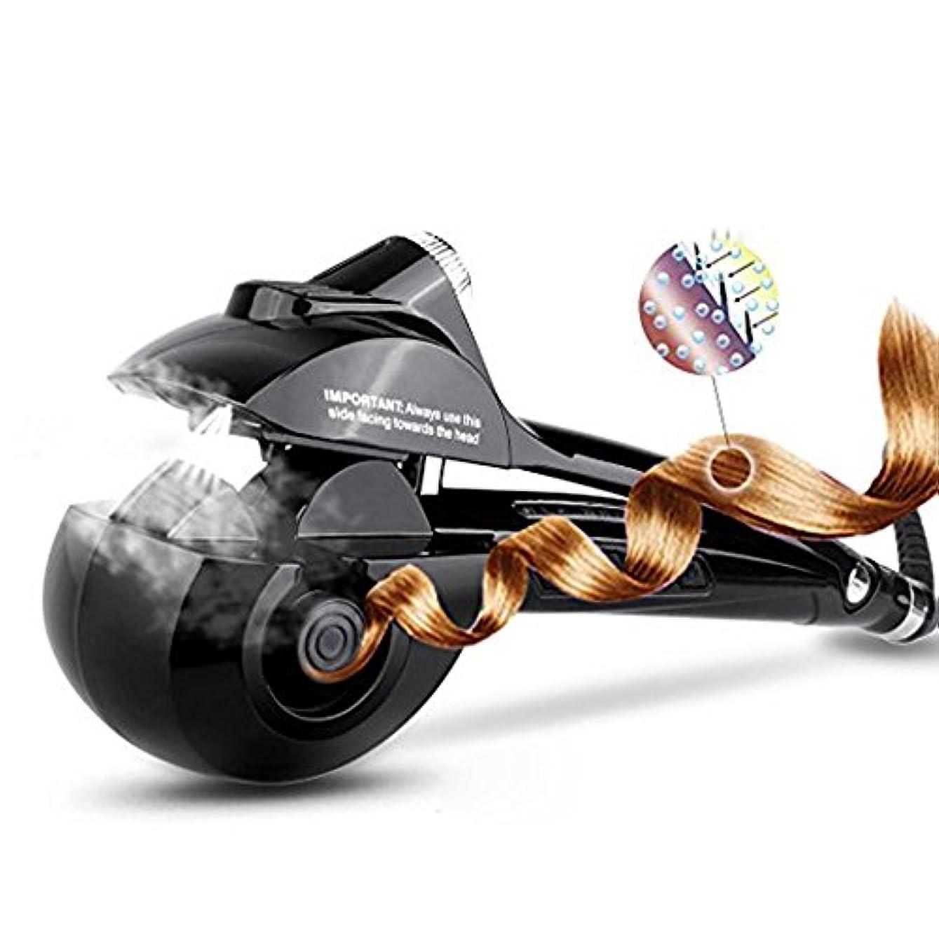 異常なフレア固執オートカールアイロンREAK ヘアアイロン カール オートカールヘアアイロン スチームヘアアイロン アイロン蒸気 8秒自動巻き 自動巻きヘアアイロン スチーム機能 プロ仕様 海外対応 日本語説明書付き (黒)