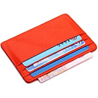 Artmi RFID Blocking Leather Slim Card Holder Women Card Case Mens Wallet with ID Window