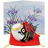 五月人形 コンパクト 陶器 小さい 鯉のぼり/こいのぼり小 黒 (磁器) /こどもの日 端午の節句 初夏 お祝い 贈り物 プレゼント