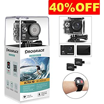 DROGRACE アクションカメラ 4K高画質 WiFi 30M防水 2インチ 2個1150mAhバッテリー 広角 日本語説明書