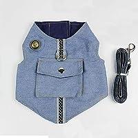 カウボーイペットの猫首輪付きノースリーブの服ソフトで通気性ブルーかわいい猫ベストファッション夏ペットTシャツ:ネイビーブルー、M