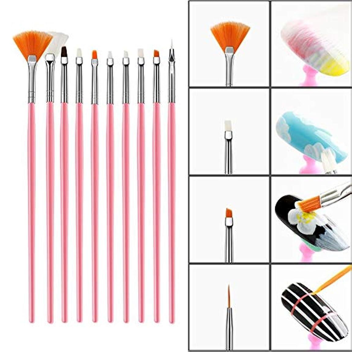 15個 ネイルアートブラシセット DIY ネイルアートデザイン用 ナイロンファイバー UVジェルカービングペン ネイルスティックラインストーン、ドットと描画ライナー(1)