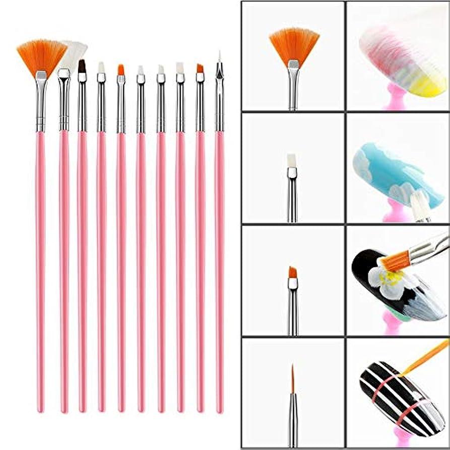 誇りフレキシブル入浴15個 ネイルアートブラシセット DIY ネイルアートデザイン用 ナイロンファイバー UVジェルカービングペン ネイルスティックラインストーン、ドットと描画ライナー(1)
