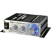 LEPY パワーアンプ小型 25W×2チャンネル 高音質 家庭用 カー アンプ 高低音 小型ステレオアンプ ブラック(12Vアダプター付属 )