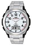 [シチズン キューアンドキュー]CITIZEN Q&Q 電波ソーラー腕時計 SOLARMATE (ソーラーメイト) アナログ表示 クロノグラフ機能付き 10気圧防水 ブレスレットバンド ホワイト MD04-204 メンズ