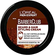 L'Oréal Paris Men Expert Barber Club Beard and Hair Styling Paste For Men, Medium Hold, Enriched with Ceda