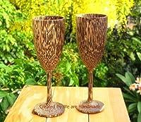 セット2ハンドメイド木製シャンパンガラスメガネ( Palm Wood )–A