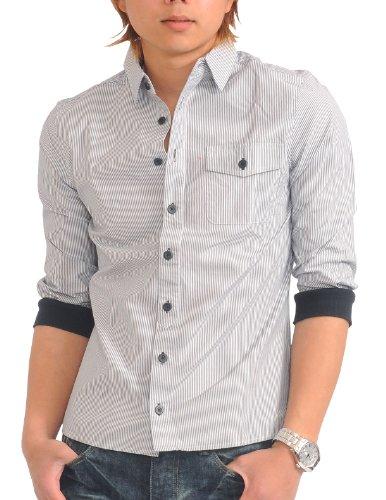 メンズ 七分袖 袖リブ 無地 ストライプ カジュアルシャツ 白シャツ 【q952】 スペード