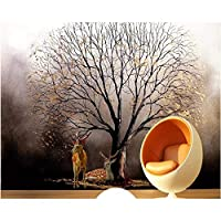 Wuyyii カスタム壁紙3D壁画ヨーロッパゴールデンツリーニホンジカ油絵背景壁紙家の装飾3D壁紙-250X175Cm