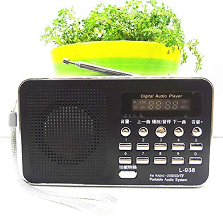 しないスチュワーデス検査多機能ラジオスピーカーポータブルMP3スピーカープレーヤーLCDデジタルミニFMラジオスピーカーUSB SD TFカード(ブラック)