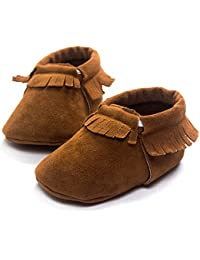 DESDEMONA Personalized Soft Soled baby shoes Girls or Boys 6 to 12 months Months Walking Shoes for Babies(S, Brown...