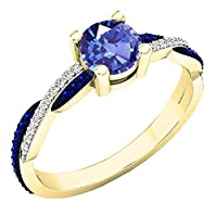 18Kイエローゴールドラウンド宝石用原石&ダイヤモンドレディースSwirl Splitシャンク婚約リング