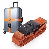 スーツケースベルトTSA 長さ調整 十字固定 ダイヤルタイプ 旅行 出張用 ネームタグ付き (オレンジ)