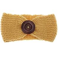 Domybest 秋冬 子供ヘアバンド コットンのベルト かわいい木製のボタンを飾る 編み物 良い弾力性 暖かく保つ 百日記念 誕生日 出産祝い 写真小道具 0-3歳に適して 9色