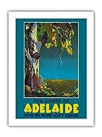 アデレードのライト, オーストラリア - オーストラリアユーカリ - マウントロフティレンジからの眺め - ビンテージな世界旅行のポスター によって作成された マクリーン c.1930s - プレミアム290gsmジークレーアートプリント - 30.5cm x 41cm