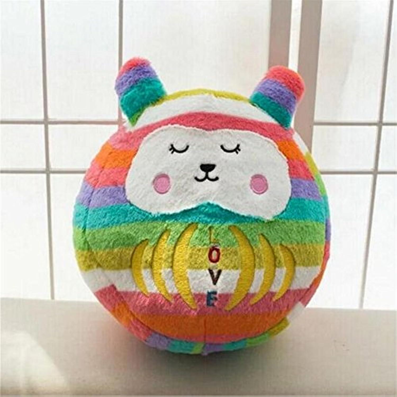 Keaner新生児幼児Roly - PolyおもちゃLargeサイズPear Wavyストライプ漫画人形タンブラーボール枕(蛍光カラーバー)