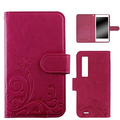 whitenuts URBANO V02 KYV34 ケース 手帳型 エンボスデザイン ピンク/百合 カード収納 ストラップホール スタンド機能 WN-OD219186-L