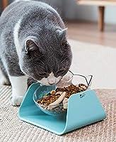 MEEWIN ペット食器 猫皿 犬食器 猫ボウル フードボウル スタンド 食べやすい ウォーターボトル 滑り止め 高度調節 フードボール ブルー