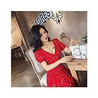 2019年韓国スリム中年のナイトクラブセクシーな深いV露出胸部ウエストスリム花柄ハイウエストドレス,赤,XL