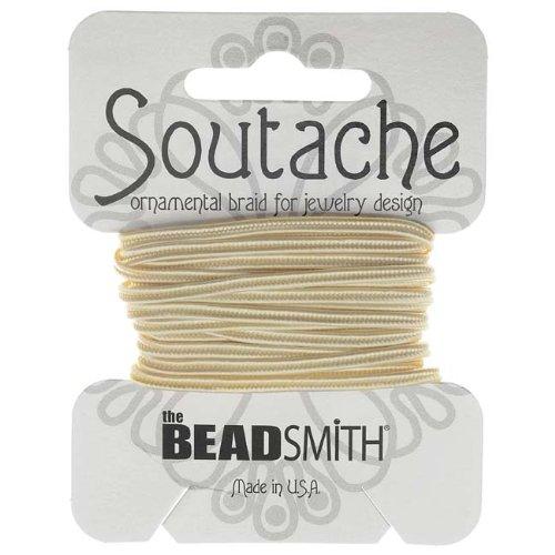BeadSmith スタッシュ 組みひも 3mm幅 - リネンホワイト / 2.75メートル