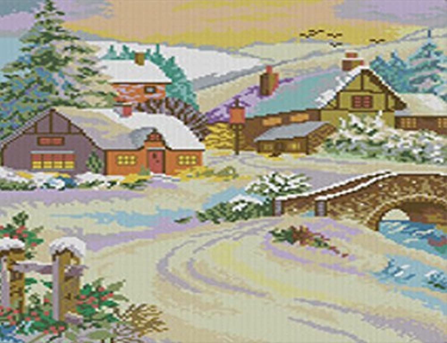 Qihu's 5d Crystal Diamond Painting DIY Counted Paint By Number Kits, Winter Scene Snow Village Country Cottage House Christmas Picture by Qihu [並行輸入品]