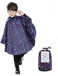 VirCal レインコートキッズ 女の子 男の子 子供 レインウェア レインポンチョ かっぱ かわいい 星柄 男女兼用 撥水加工 雨具 防水 アウトドア コート専用ポーチ付き ブルー
