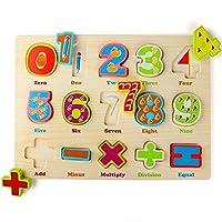 Lewo木製番号Matching PegパズルPreschool早期開発教育おもちゃfor Kids Toddlers 15ピース
