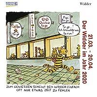 Widder Mini 2020: Sternzeichenkalender-Cartoon - Minikalender im praktischen quadratischen Format 10 x 10 cm.