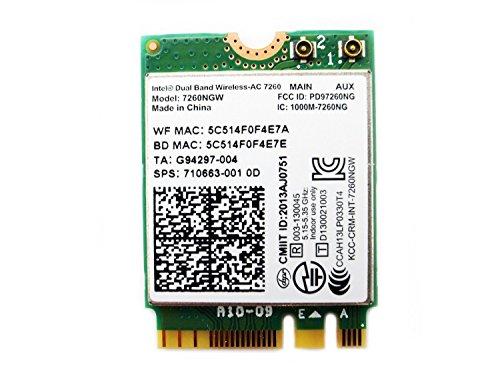 Intel デュアルバンド 高速 Wi-Fi 通信Band Wireless-802.11 AC Intel 7260NGW  NGFF  最大リング867 Mbps+ Bluetooth 4.0 無線LAN EnlargeCorp